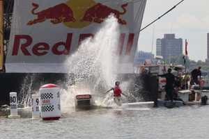 Team Breakdown Charlie hits the water at Red Bull Flugtag in Boston, Mass, USA on August 20, 2016.