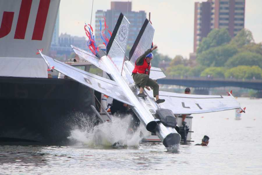 The Mass Mavericks launch from the platform at the Red Bull Flugtag in Boston.