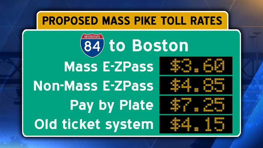 Interstate 90/Mass Pike from Interstate 84 in Sturbridge to downtown Boston.Pay by plate users should add an additional $.60 surcharge.