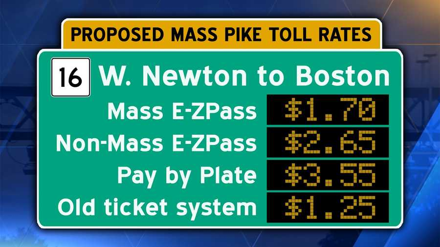 Interstate 90/Mass Pike from Route 16/West Newton to downtown Boston.  This was a common shortcut for drivers in MetroWest.Pay by plate users should add an additional $.60 surcharge.