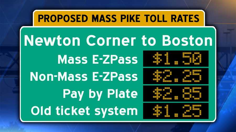 Interstate 90/Mass Pike from Newton Corner to downtown Boston.Pay by plate users should add an additional $.60 surcharge.
