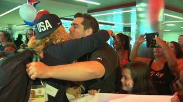 A big hug for Gold medalist Kayla Harrison.
