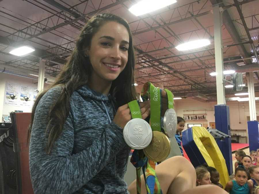 Raisman brought her three medals from Rio to show to the young gymnasts. She also won three medals in the 2012 Olympic Games.