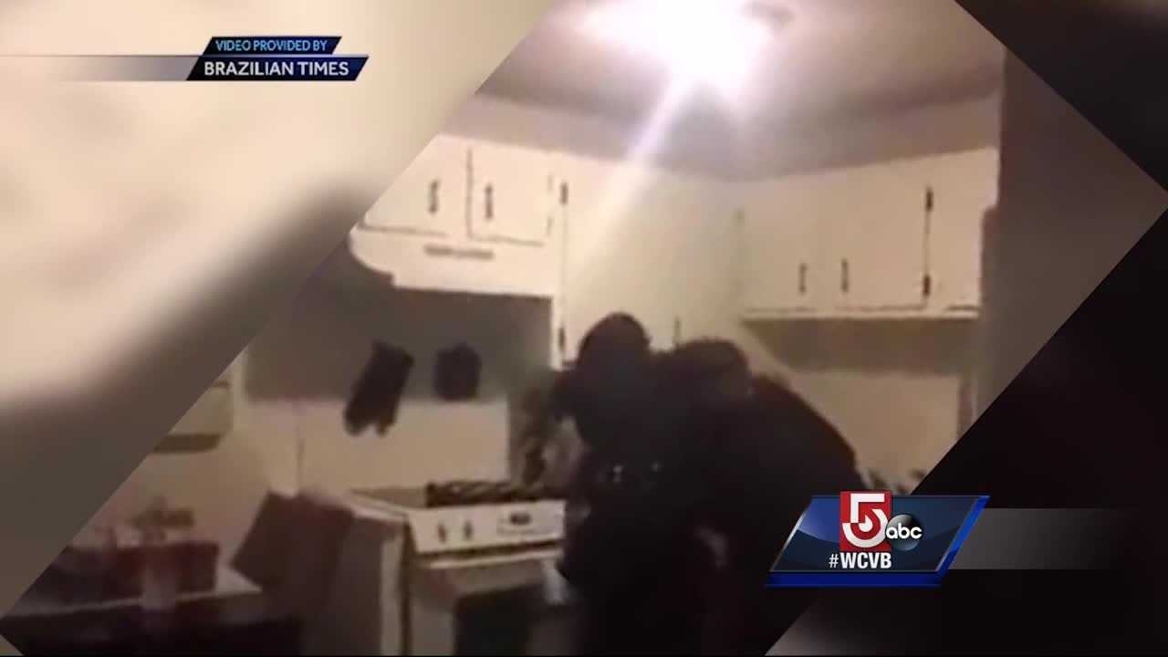 A violent struggle between two Framingham police officers and a suspect was caught on camera.