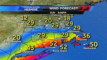 Winds on the Cape and Islands could be significant, as high as 50 mph, because the area will be sandwiched between the remains of Hermine and another front to the north.