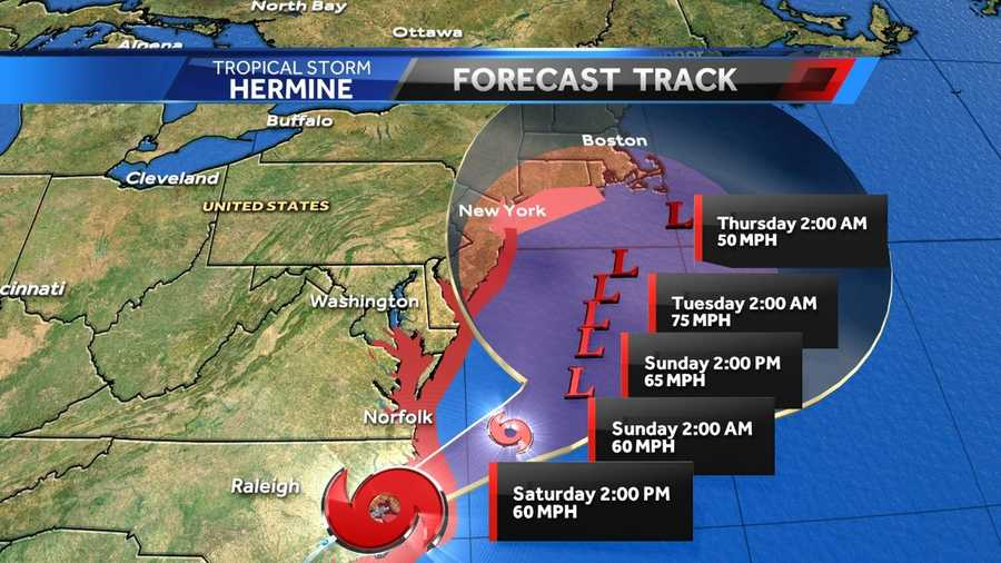 Here is the expected trajectory of Tropical Storm Hermine