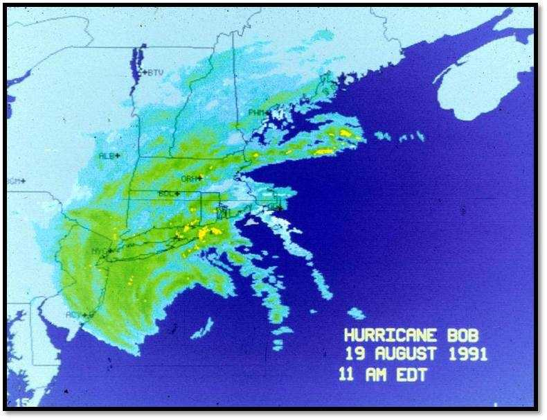 Hurricane Bob was one of the most intense hurricanes to hit New England. It caused over $1 billion of damage in Massachusetts and left 500,000 people without power.