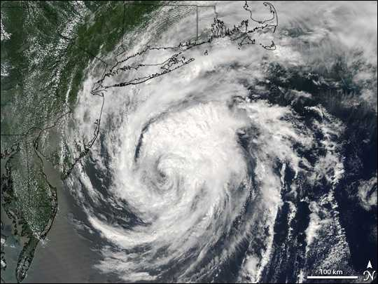 The storm made landfall in Nantucket. Rainfall and gusty winds were reported in portions of Massachusetts.