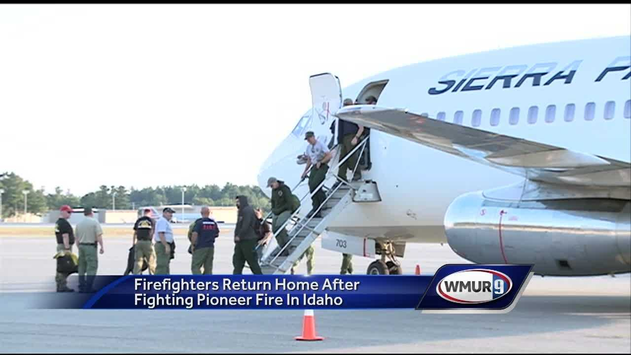 Twenty firefighters from New Hampshire returned home to their families Sunday night after helping battle the Pioneer Wildfire in Idaho, which continues to grow.