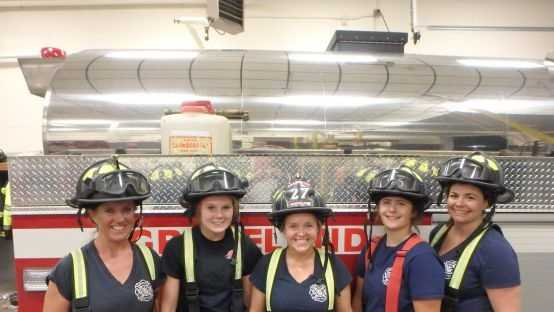 Left to right: Firefighters Jennifer Hicks, Megan Shea, Lisa Evans, Courtney Panaro and Alyssa Bosch.