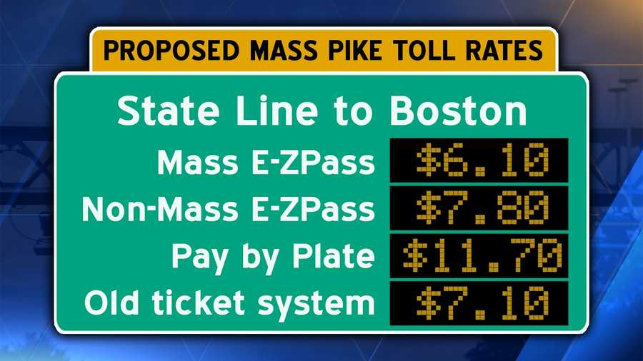 Interstate 90/Mass Pike from the Massachusetts state line in W. Stockbridge to downtown Boston.Pay by plate users should add an additional $.60 surcharge.