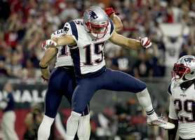 New England Patriots wide receiver Chris Hogan (15) celebrates after a touchdown against the Arizona Cardinals during an NFL football game, Sunday, Sept. 11, 2016, in Glendale, Ariz.