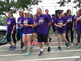 More than 300 people walked to promote childhood cancer awareness in Quincy on Sunday.