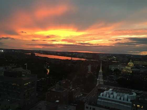 You can see the State House in this awesome view of the sunset.