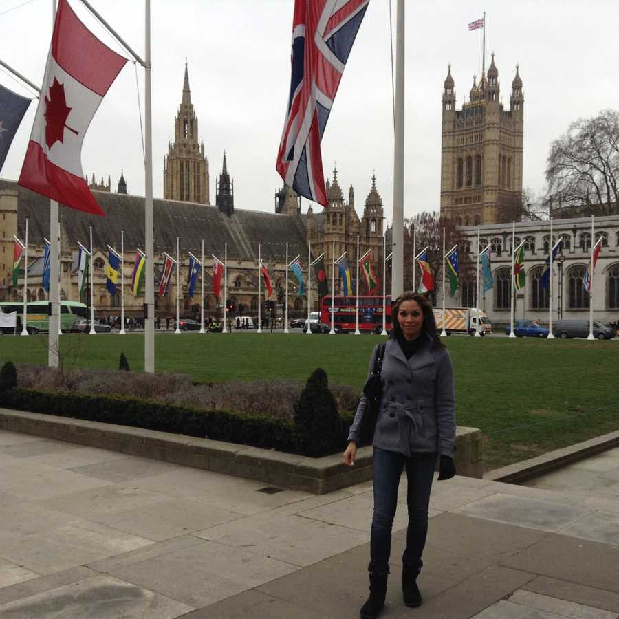 Exercise, reading, watching FOOTBALL! and traveling. Here she is in London!