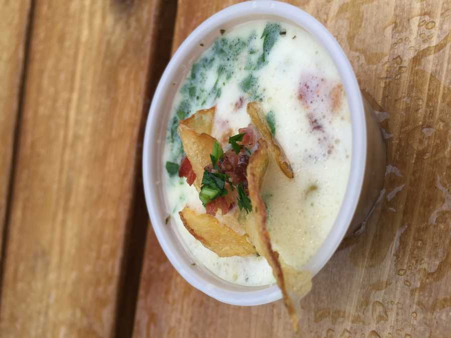 Clam chowder with bacon and fried potato chip from the Connecticut State Building's Chowder Fest.