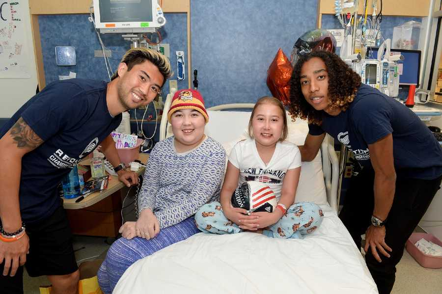 "New England Revolution players Brad Knighton, Zachary Herivaux, Daigo Kobayashi and Lee Nguyen visited patients at Boston Children's Hospital as part of the team's efforts to ""Kick Childhood Cancer"" during Childhood Cancer Awareness Month."