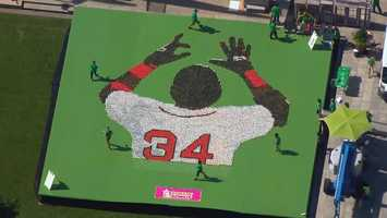 "Probably the sweetest tribute to David Ortiz came from Dunkin' Donuts. Hundreds of doughnuts created a mosaic of ""Big Papi"" and for each one, 34 cents was donated to the Greater Boston Food Bank."