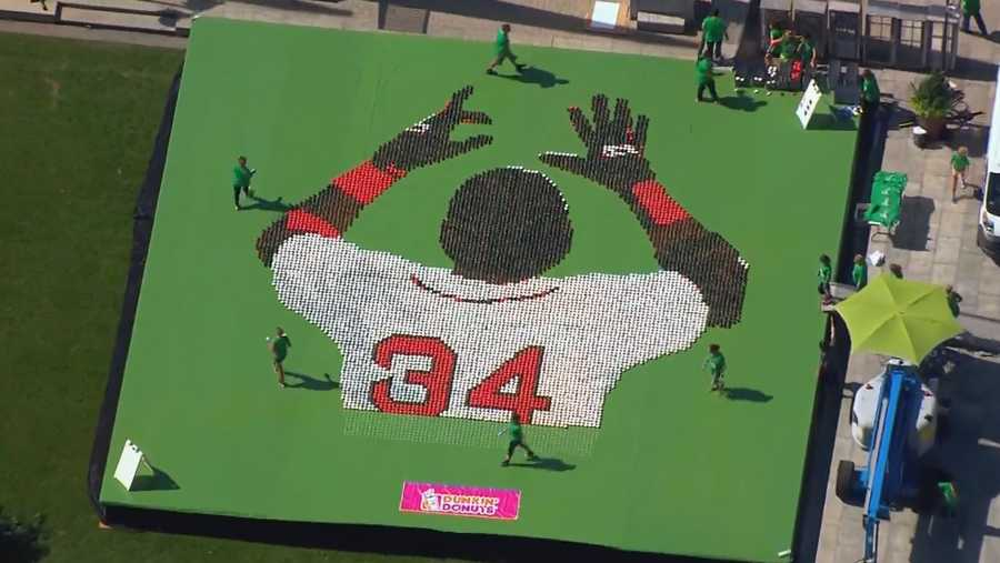 """Probably the sweetest tribute to David Ortiz came from Dunkin' Donuts. Hundreds of doughnuts created a mosaic of """"Big Papi"""" and for each one, 34 cents was donated to the Greater Boston Food Bank."""