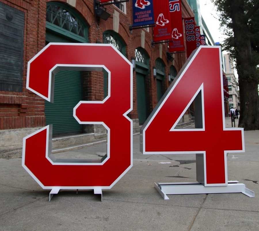 The Red Sox placed a giant #34 around Boston where fans can take photos and sign a giant thank you card.