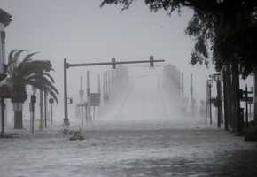 Wind and water from Hurricane Matthew batter downtown St. Augustine, Fla., Friday, Oct. 7, 2016.