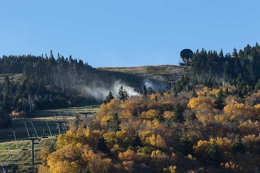 In this photo provided by Killington Ski Resort, snowmaking is underway on the resort's Superstar trail.  The resort will host the first Alpine Ski Event on the east coast in 25 years.