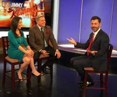 Late night host Jimmy Kimmel stopped by the WCVB studio in Needham Saturday morning.