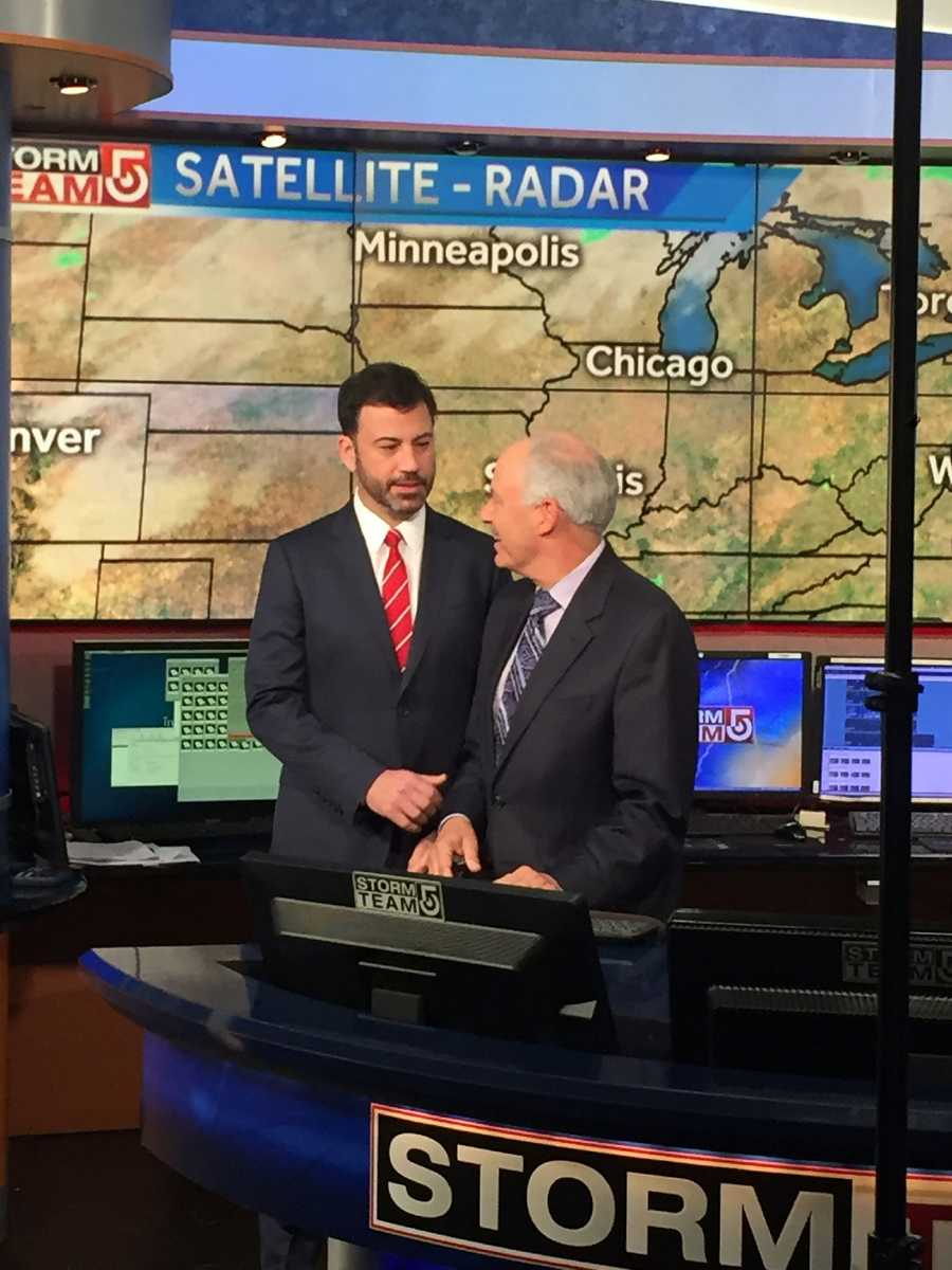 While he was here, Kimmel had a little fun with StormTeam 5 Chief Meteorologist Harvey Leonard!