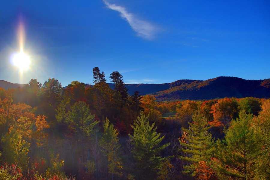 Beautiful fall foliage + blue skies + sunset = Incredibly peaceful moment.