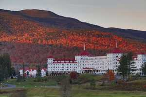 Sunset at the historic Mount Washington Hotel in Bretton Woods, N.H.  The sun reflecting off the foliage made for a postcard-type moment.