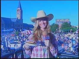 Her first live report was from a rodeo pancake breakfast in Cheyenne, where she was required to wear cowgirl attire.