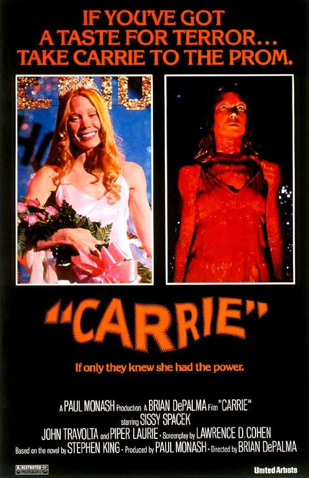 Yet another classic based on a Stephen King novel, this tells the story of Carrie White, a small-town girl cooped up in a house with her religious nut of a mother. As the anxieties of high-school life build, Carrie comes to find that she has special powers.