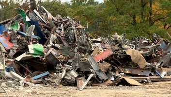 The debris pile from the Weston Toll Plaza.