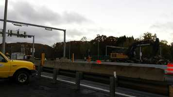 The tollbooths in West Stockbridge were gone by 7:40 a.m. Monday, MassDOT said.