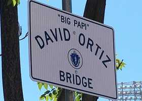 The bridge connecting Kenmore Square to Fenway Park is now known as David Ortiz Bridge, after the bridge was renamed in the slugger's honor in October.