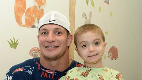 New England Patriots player Rob Gronkowski visits Joshua in Boston Children's Hospital