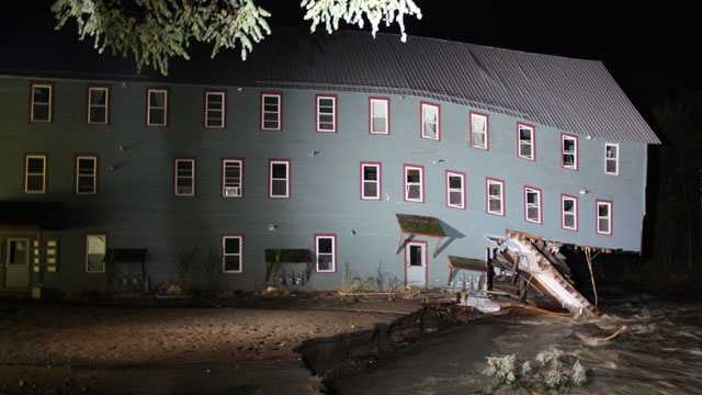 A building badly damaged by rising floodwaters from Hurricane Irene is on the verge of collapsing.