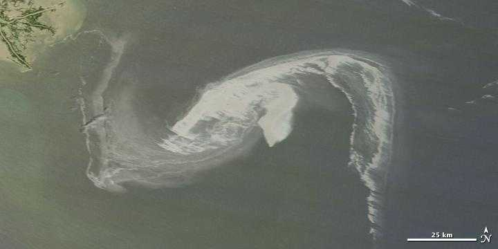 Close up: A massive oil slick in the Gulf of Mexico continued spreading on April 29, 2010, moving perilously close to shore.