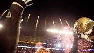 Saints safety Darren Sharper celebrates winning Super Bowl XLIV.