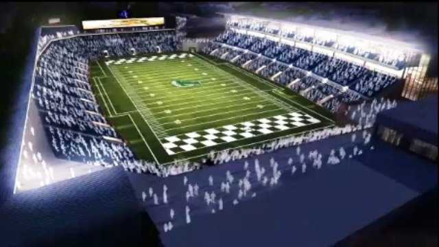 A computer model shows what the proposed Tulane University stadium would look like.