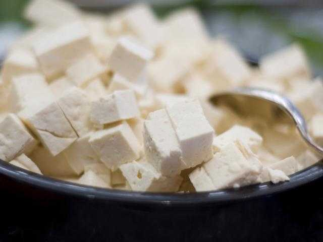 Tofu can be eaten by people who also eat meat. It provides vitamin B and iron.