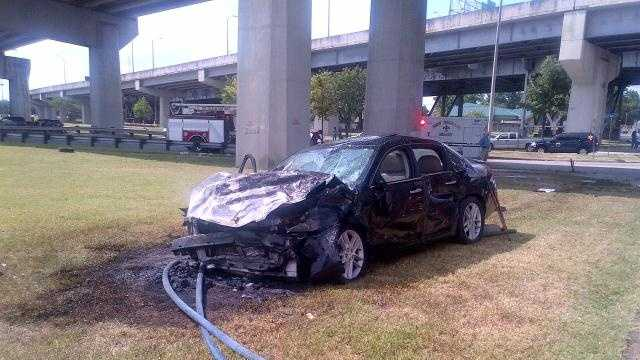 Officials with the New Orleans EMS said a man was rescued from this vehicle by a heroic bystander who witnessed the crash Wednesday morning. Click here to read more.