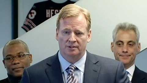 Roger Goodell addresses the media at Soldier Field in Chicago.