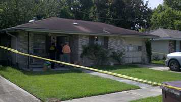 (June 13, 2012) Kenner police search a home in the 2000 block of Connecticut Avenue as part of their investigation into the death of Jaren Lockhart.
