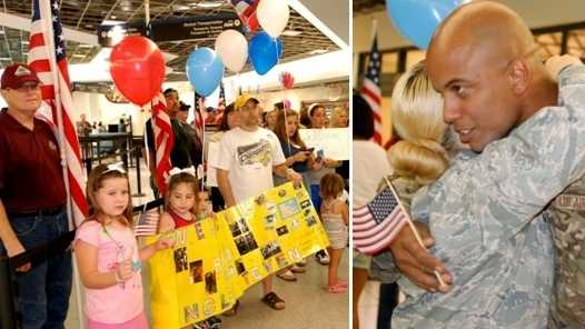 Family and friends welcome returning members of the Louisiana National Guard following their deployment in Afghanistan.