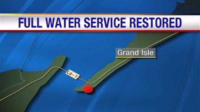 Everything, specifically the water, is flowing smoothly in Grand Isle after a line was ruptured by a vessel on Tuesday.