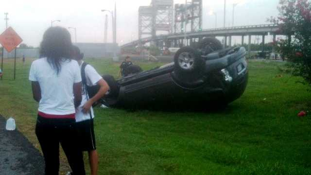 The driver of an SUV escaped serious injury when his vehicle flipped while exiting the Belle Chasse Tunnel.