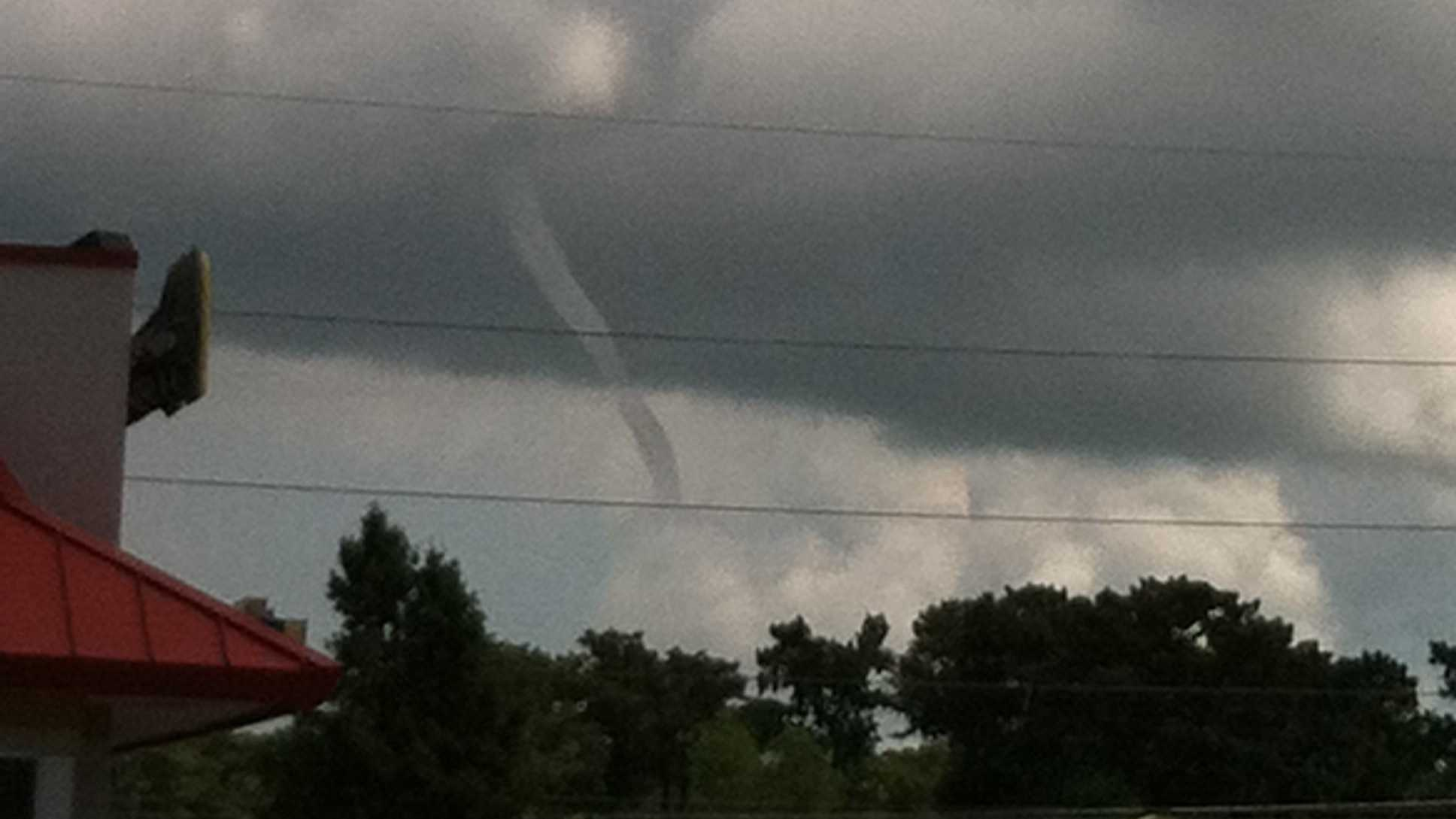 A member of WDSU.com's u local community sent this photo of a funnel cloud developing in Destrehan, La. on Monday.