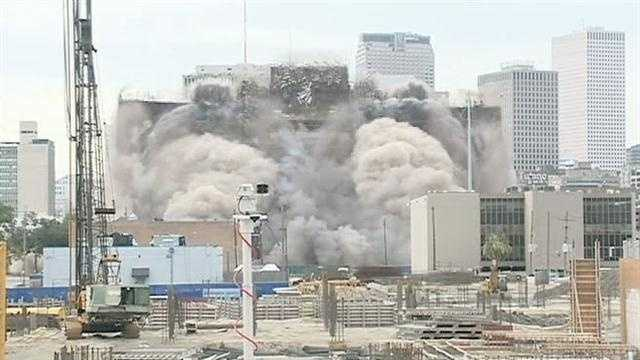 The Grand Palace Hotel came crashing down on Sunday morning in a planned implosion.