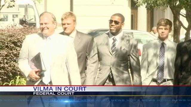 Linebacker Jonathan Vilma hopes a judge will grant him a temporary restraining order and allow him to continue working out with the team after the NFL slammed him with a year-long suspension.